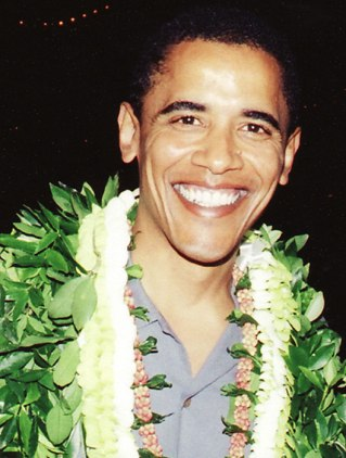 Obama with Hawaiian Lei